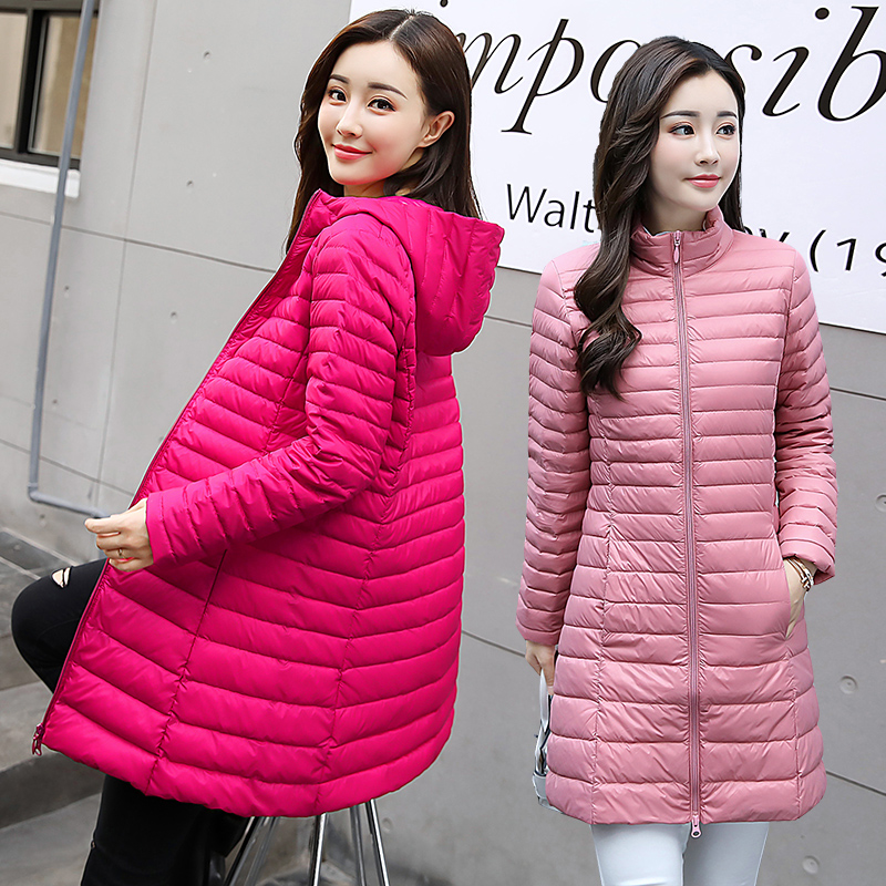 Autumn and winter 2020 lightweight down jacket womens mid long hooded collar loose large Korean jacket off season clearance