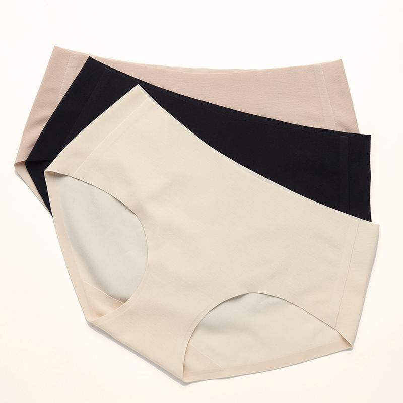 大朴 80支随心裁无痕女士三角内裤 纯色一片式 中腰内衣裤