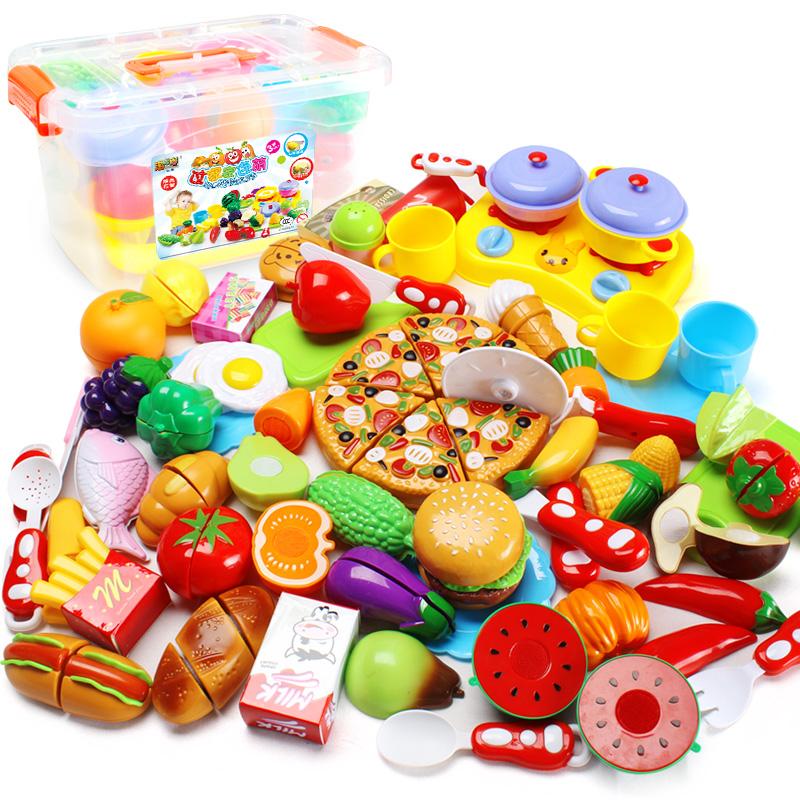 兒童過家家玩具 廚房仿真果蔬 女孩蔬菜切切看 寶寶切水果切切樂