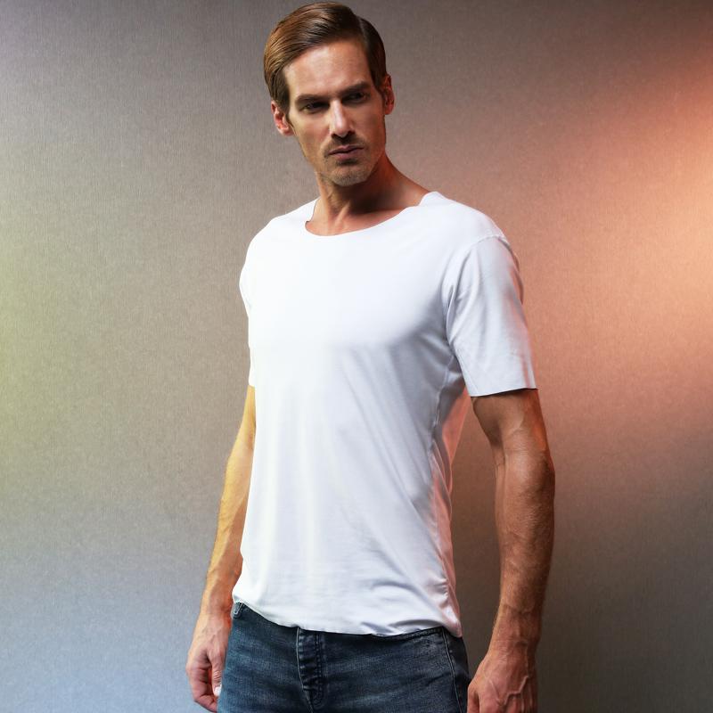 莫代尔男士弹力无痕圆领打底衫半袖t恤短袖纯色不锁边基础上衣满89.00元可用10元优惠券