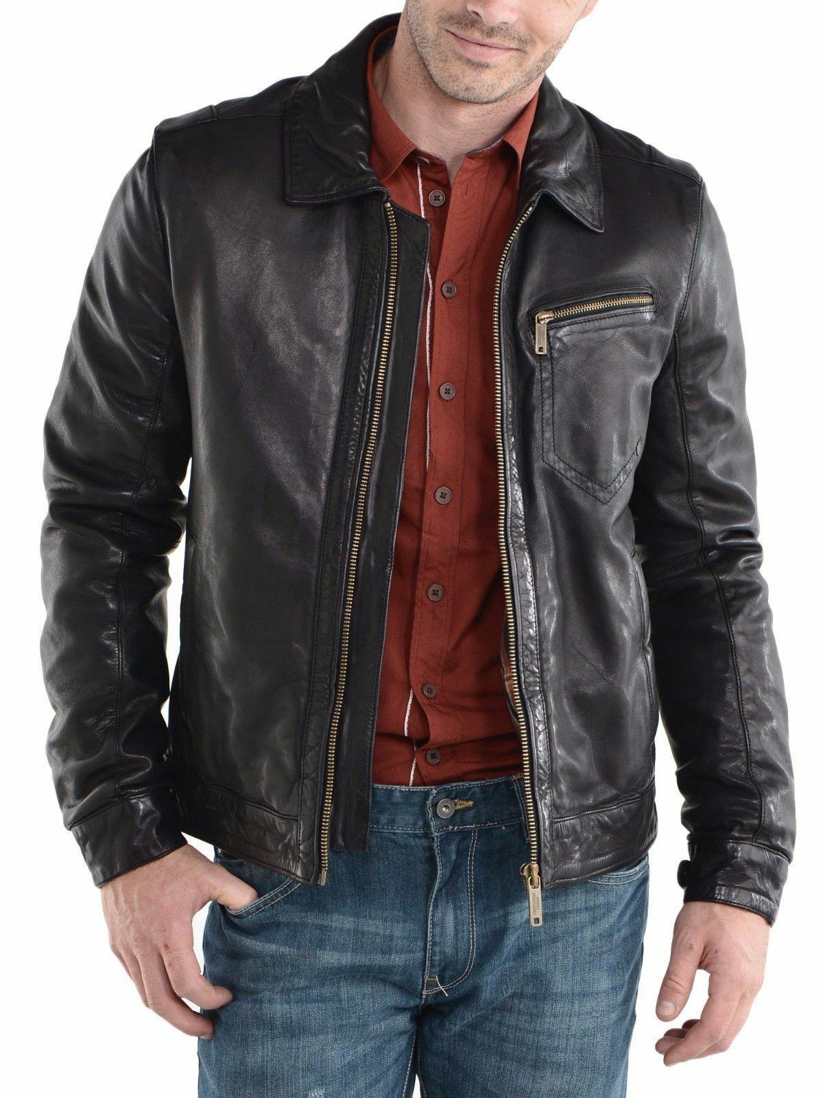 Mens Retro Black Slim autumn winter warm Genuine Leather Motorcycle Jacket motorcycle leather
