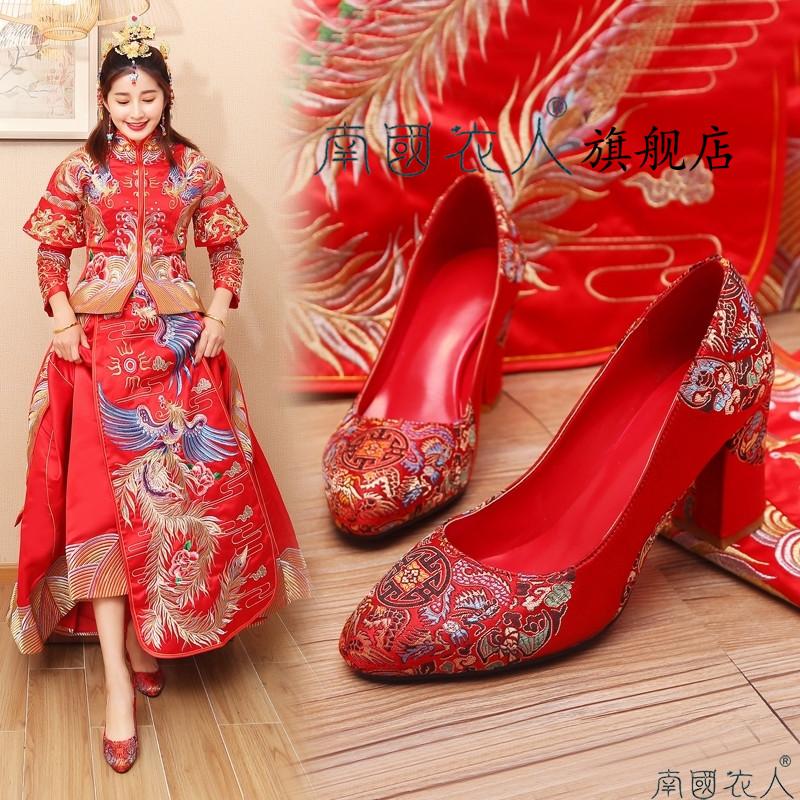 红色结婚鞋子女2020春季新款粗跟孕妇新娘红鞋高跟中式龙凤秀禾鞋