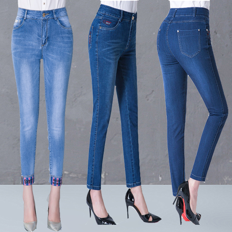 Moms 9-point jeans womens spring high waist middle-aged and elderly Leggings elastic show thin cotton 40 years old middle-aged light color