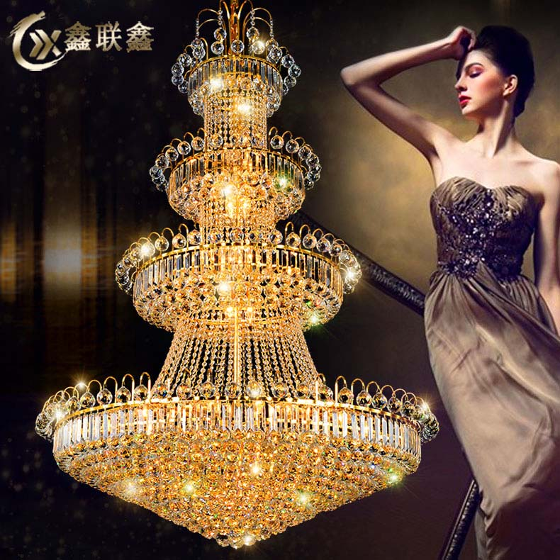 European style duplex building, grand chandelier, luxury living room, hollow long hall, golden round crystal lamp, hotel villa project