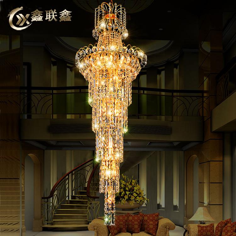 欧式现代简约水晶灯复式楼别墅旋转楼梯吊灯豪华大长间轻奢客厅灯