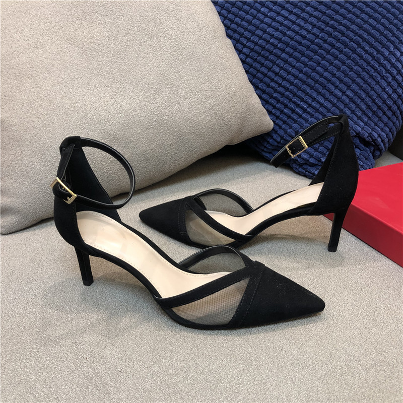 20 new pointy Baotou mesh ankle strap elegant classic fashion all-around womens stiletto sandals made in large size