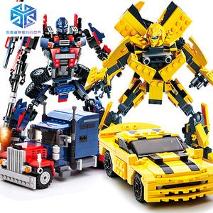 变形机器人拼装积木拼插玩具男孩益智legao擎天柱模型大黄蜂金刚