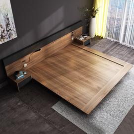 亿森堡日式榻榻米极简床现代简约北欧板式床双人床1.8米主卧矮床图片