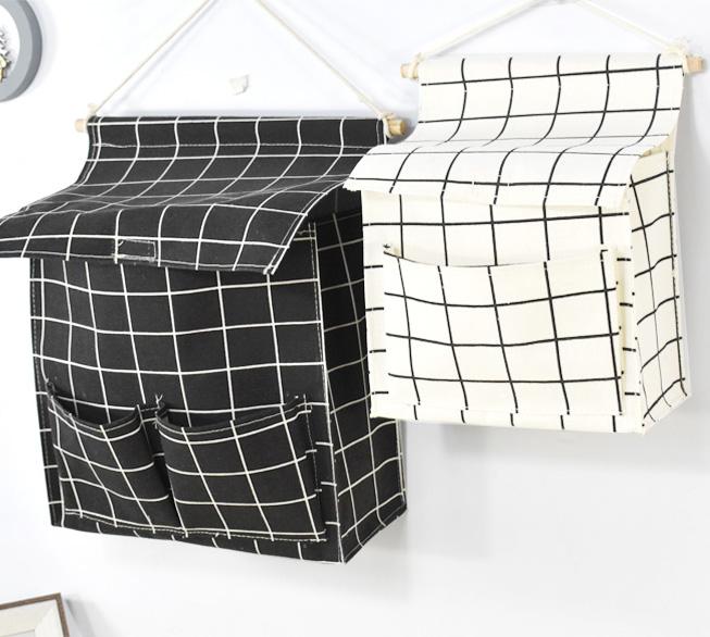 墙上挂袋卧室床头墙挂式布艺置物袋