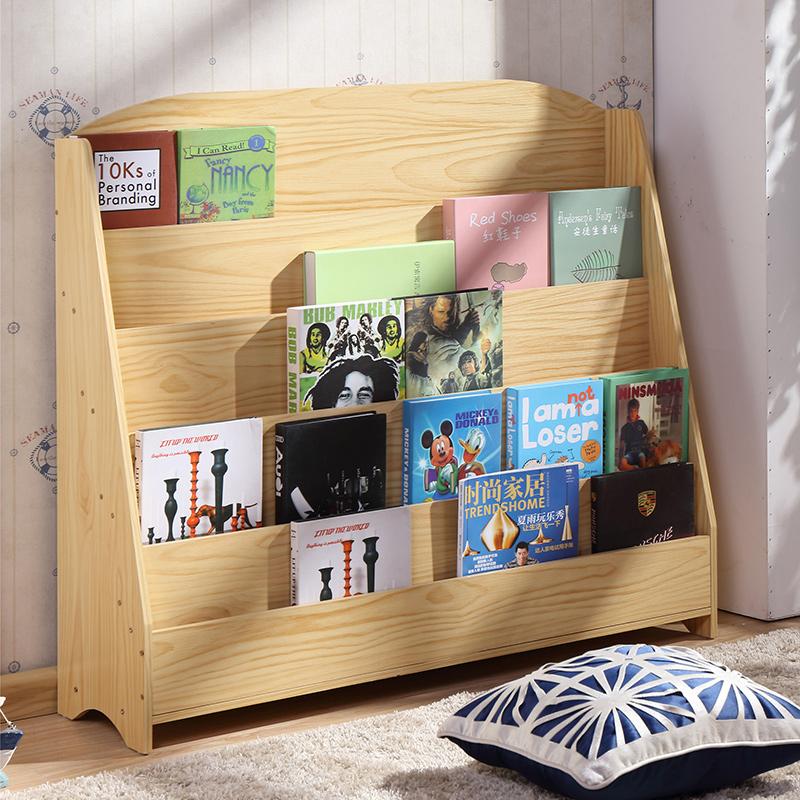 儿童书架儿童绘本架简易书报架学生幼儿园图书柜展示架原木色白色