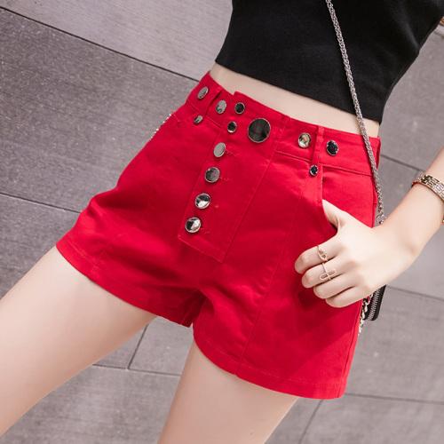 New denim shorts womens High Waist Stretch slim shorts fashion irregular multi button Street pants