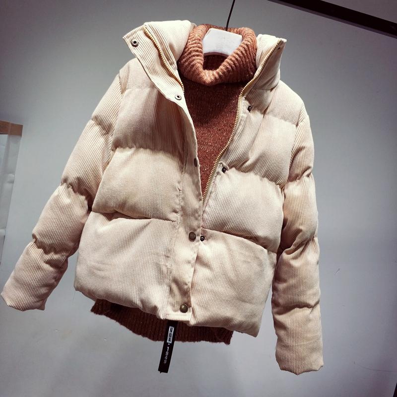 立领外套女冬韩版短款宽松加厚棉袄宽松灯芯绒棉服女装面包服棉衣