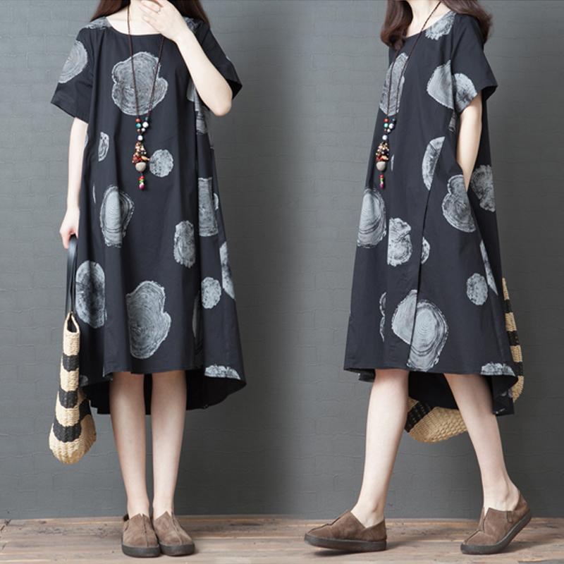 夏装新款韩版大码女装宽松复古中长款气质长裙休闲亚麻棉麻连衣裙