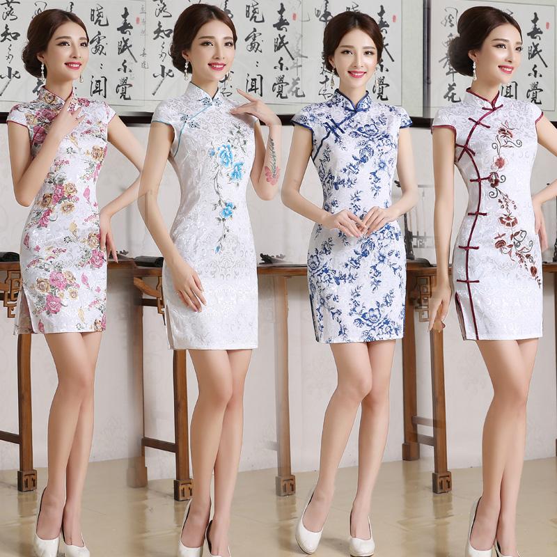 Каждый день специальное предложение cheongsam весна 2017 новый девушка выйти замуж cheongsam юбка краткое модель улучшение cheongsam платье платья