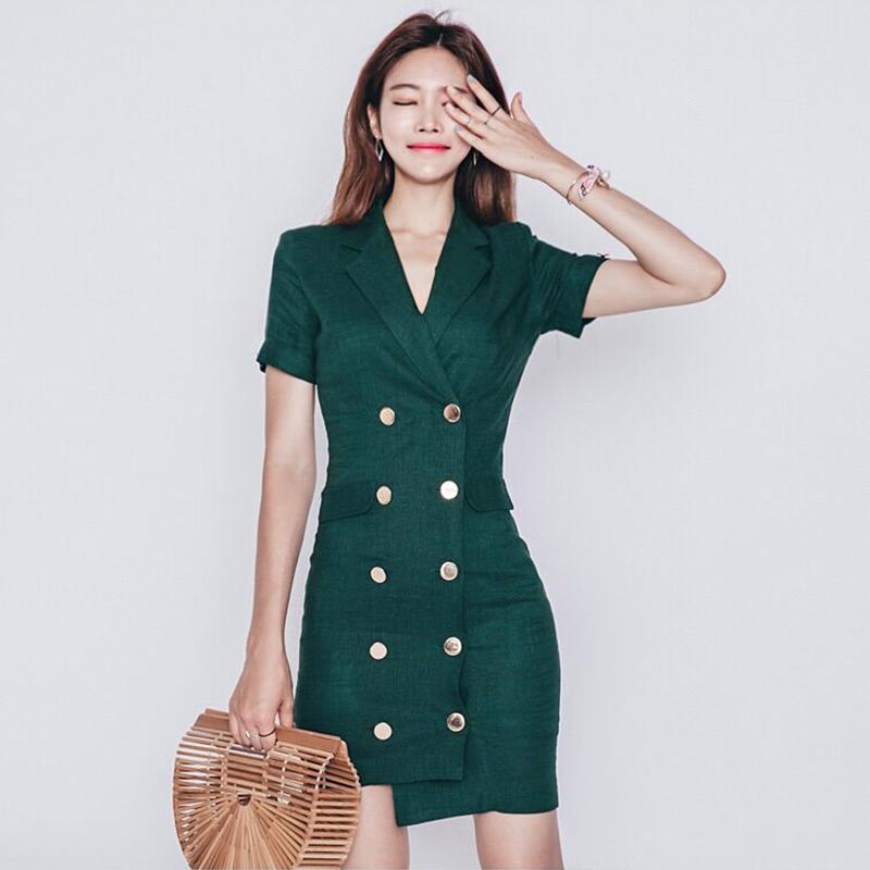 2018新款女装夏装时尚气质夏天职业连衣裙女棉麻冷淡风裙子LA0009