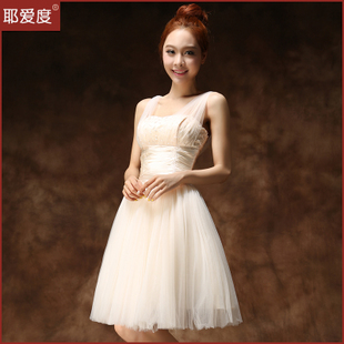 Shallow V neck bridesmaid dresses 2015 wedding bridesmaid dress short paragraph sister skirt dress new evening dress toast
