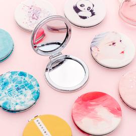 韩国创意随身化妆镜女便携折叠小镜子补妆镜小清新学生迷你双面镜