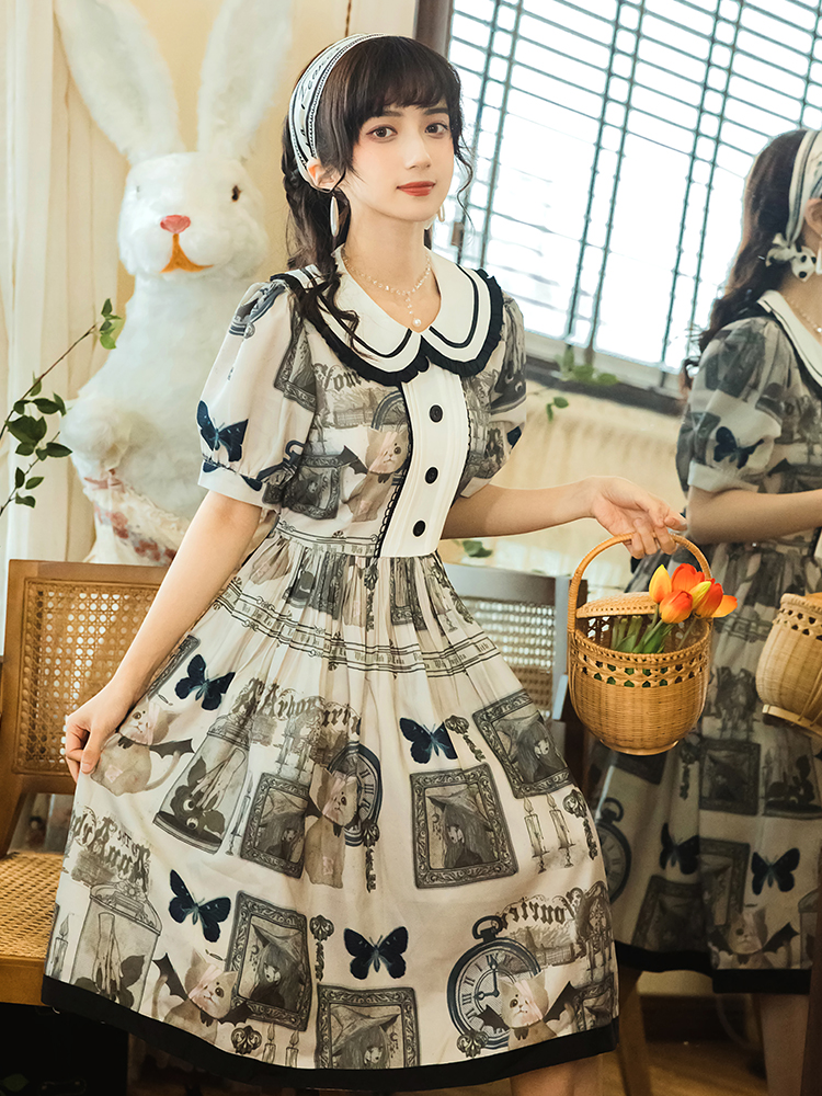 清纯款仙女连身裙复古文艺风娃娃领洋装印花图案 系带连衣裙包邮