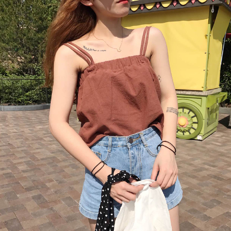 2018夏装新款韩版新款女装学生清新吊带两穿背心上衣纯色打底衫潮