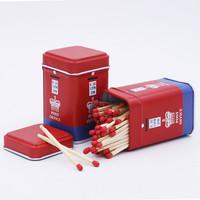 加长火柴55MM电话亭红色马口铁点香熏烟斗雪茄烟专业铁盒安全火柴