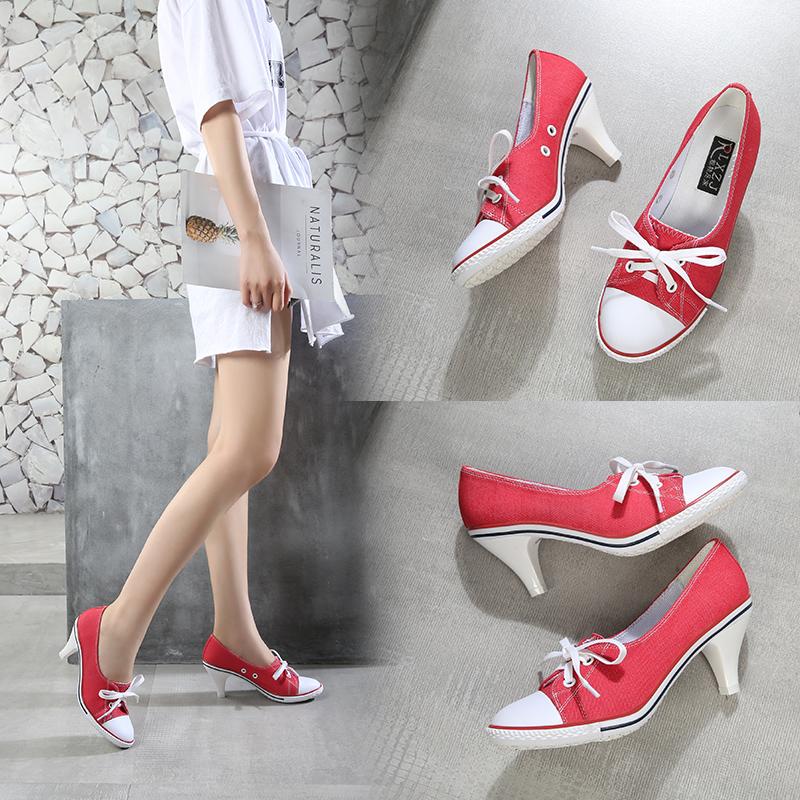 Canvas high heels womens spring new wedding shoes round head low top cloth shoes shallow mouth thick heel net red Korean casual single shoes