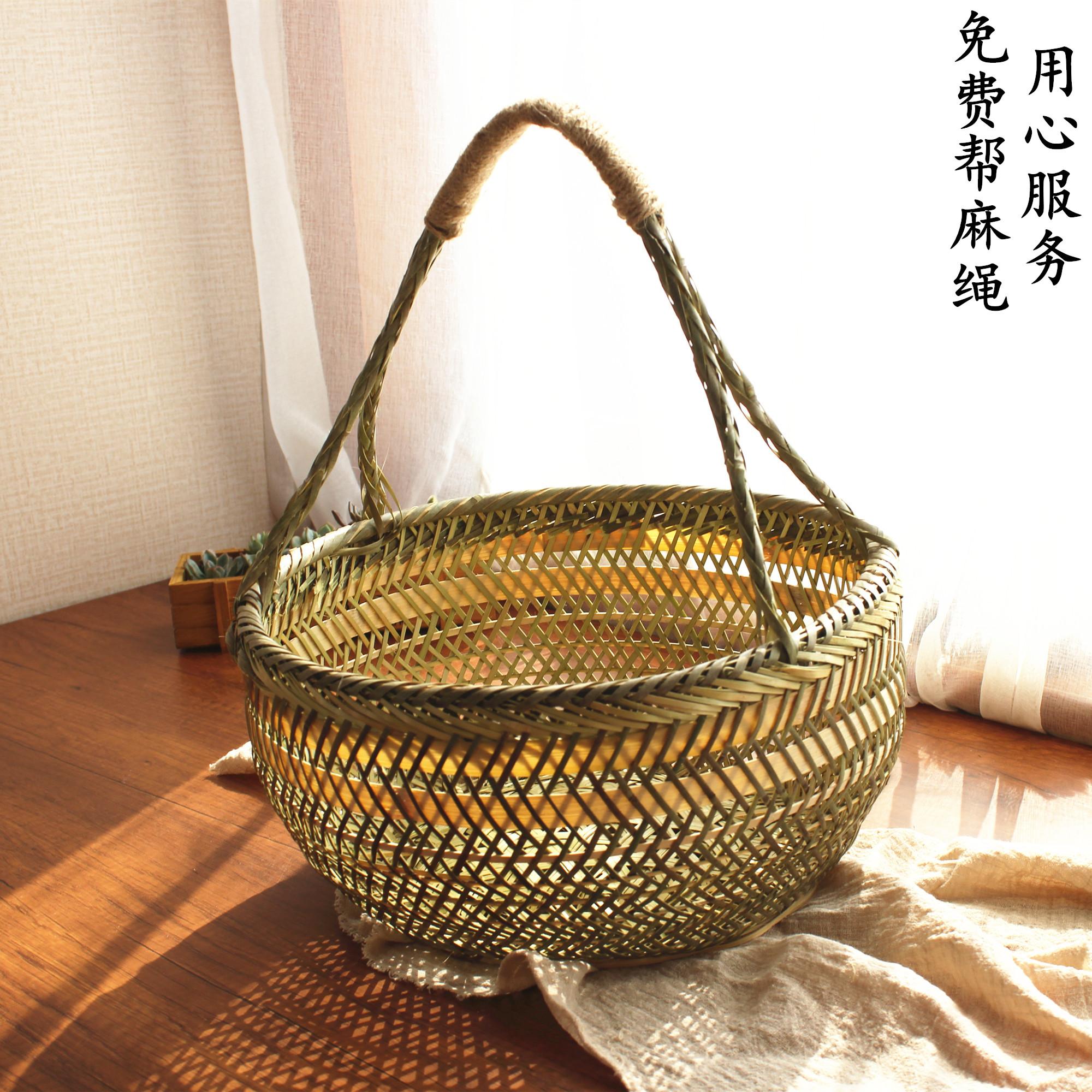 圆竹篮子手提鸡蛋包装篮蔬菜框竹编