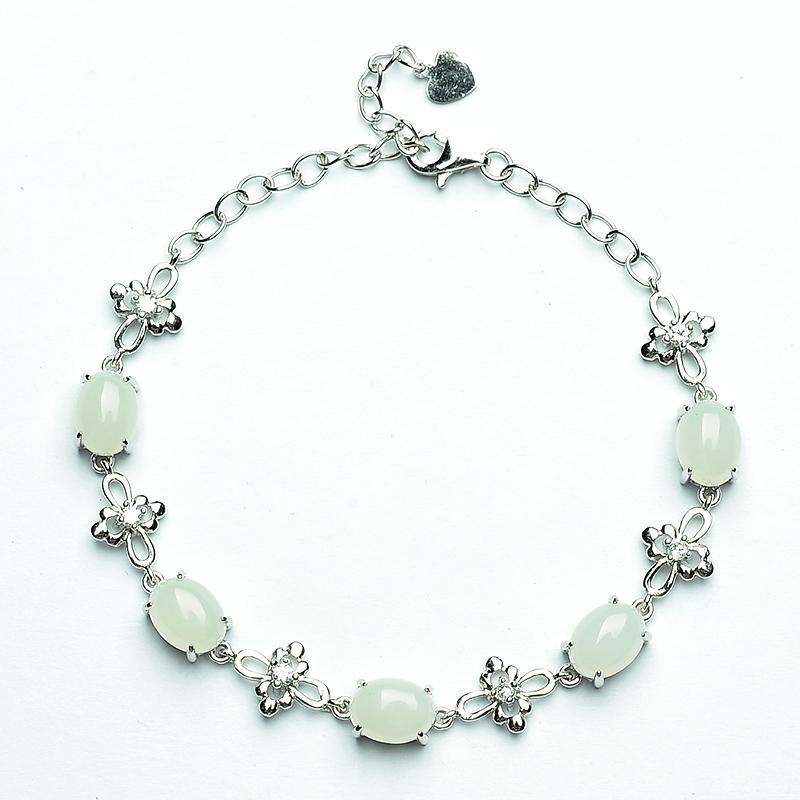 Natural 925 silver inlay and Tianyu bracelet genuine lanolin white jade bracelet womens jade jewelry fashion jewelry