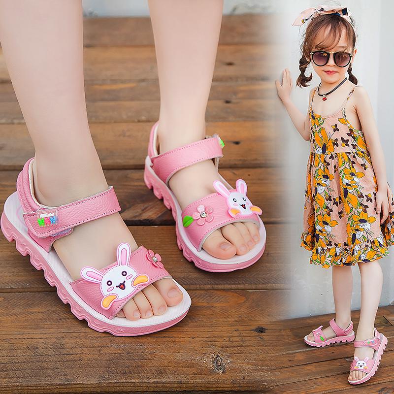 女童凉鞋2019夏季新款韩版公主鞋真皮沙滩鞋中大童夏牛皮学生凉鞋