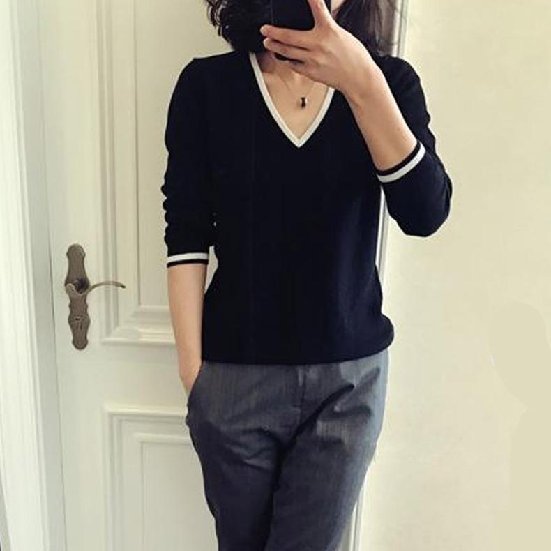 新款V领简约套头毛衣女短款纯色长袖毛衣宽松针织打底衫 高端定做