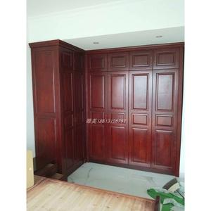 广州香港全屋整体实木家具定制衣柜白蜡木橡木转角柜L型衣橱定做
