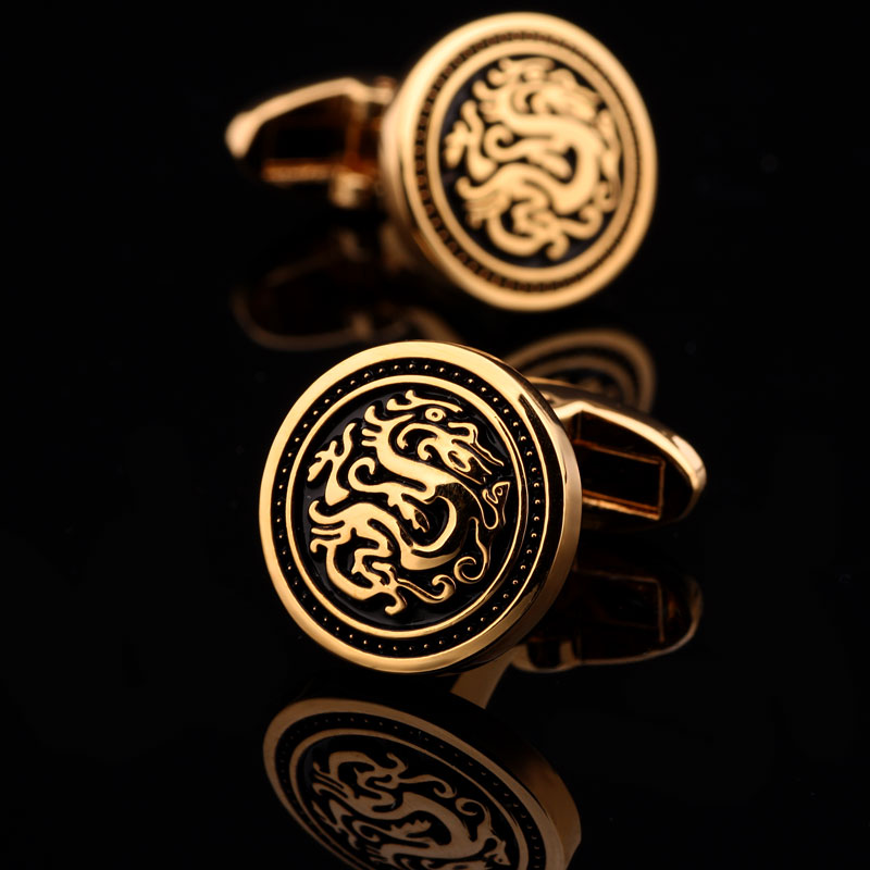 Cufflinks Chinese style dragon lettering mens and womens French shirt cuffs customized light luxury high-end Cufflinks