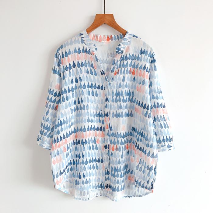 夏季清新色系水彩感印花 韩范女装上衣女 显瘦V领衬衫女七分袖