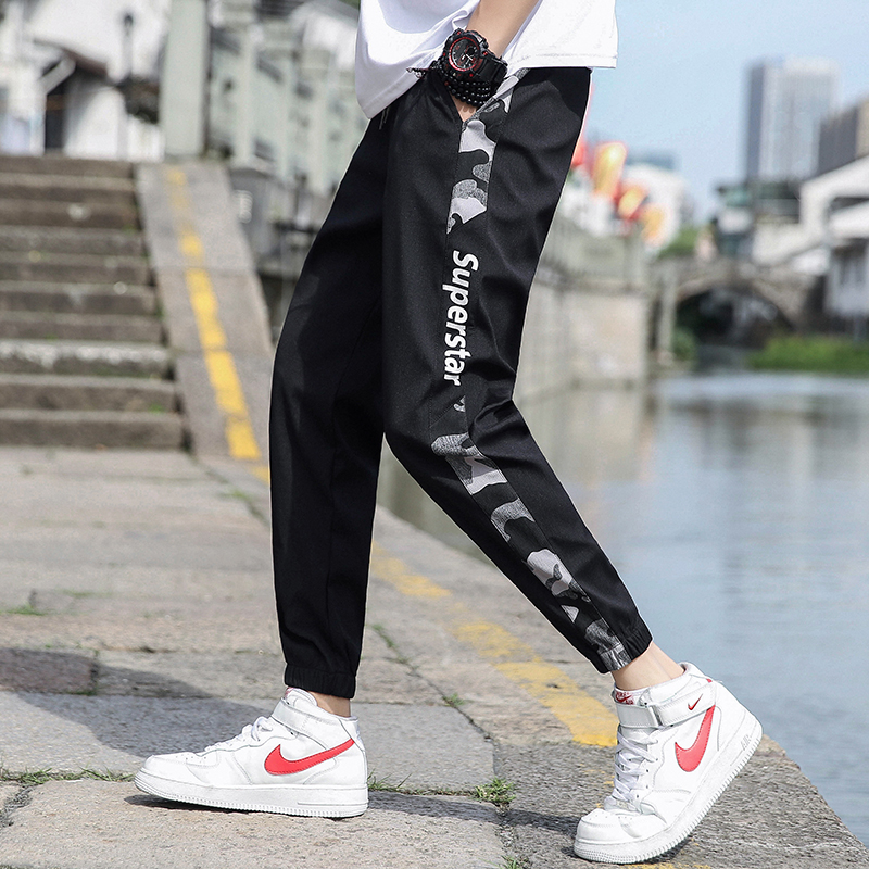 Summer new side thin camouflage pants mens elastic casual pants