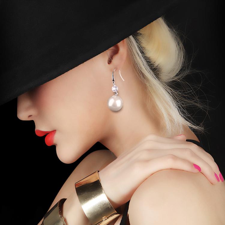 Vasabi 925 pure silver earrings womens fashion diamond pearl earrings