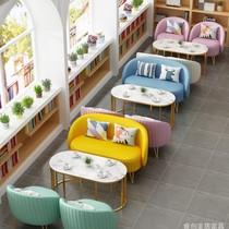 网红奶茶店卡座沙发洽谈桌椅组合西餐厅烘焙店简约休闲双人沙发椅