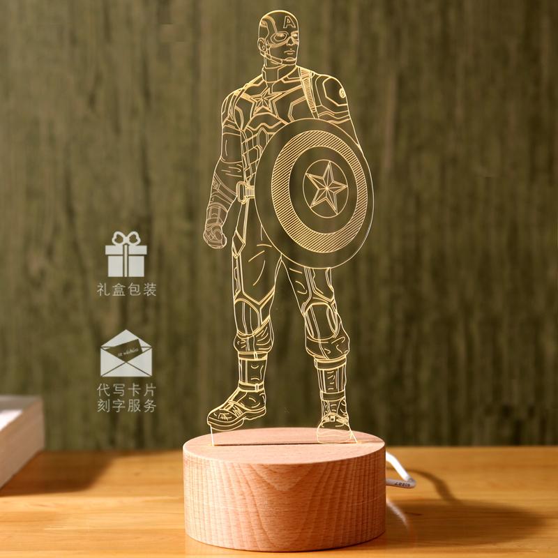 英雄远征漫威3D美队蓝牙音响夜灯LED台灯蜘蛛侠USB床头灯生日礼物