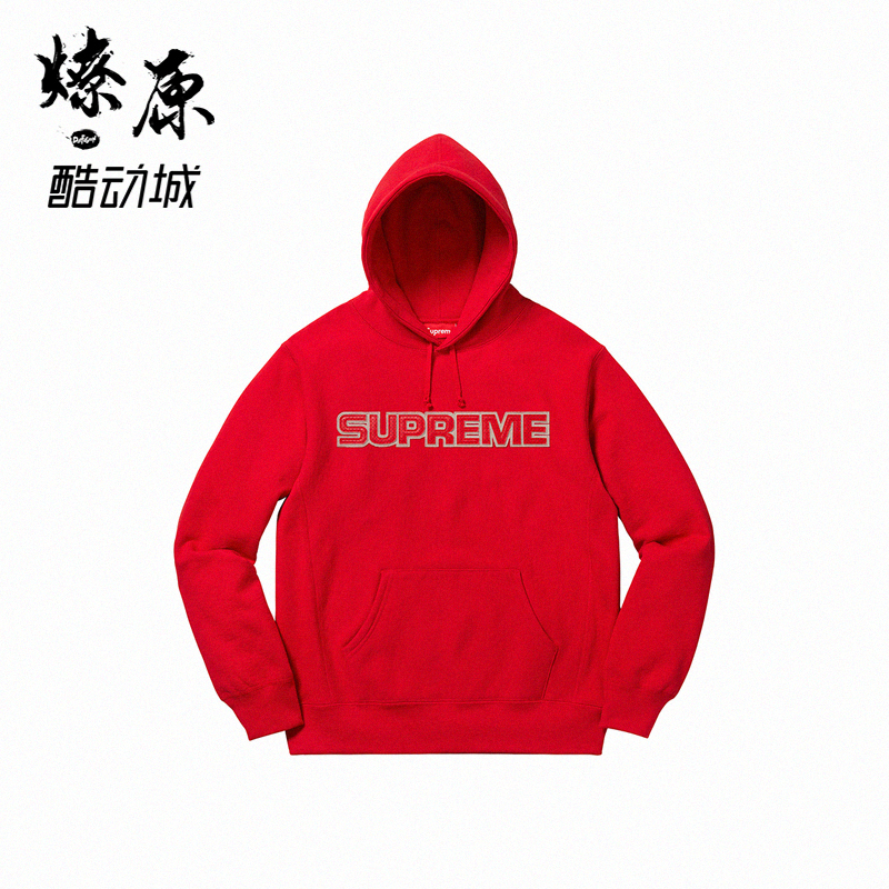 Supreme Perforated Leather Hooded Sweatshirt 18FW 大logo卫衣