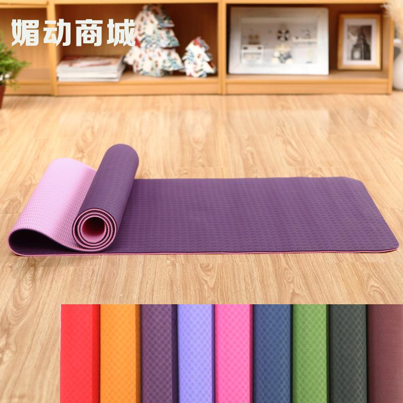 回弹快防滑瑜伽垫tpe双层双色瑜珈垫子 yoga愈加垫