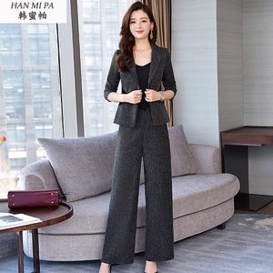 初春2020年新款时尚洋气阔腿裤职业套装女开春季气质春款两件套