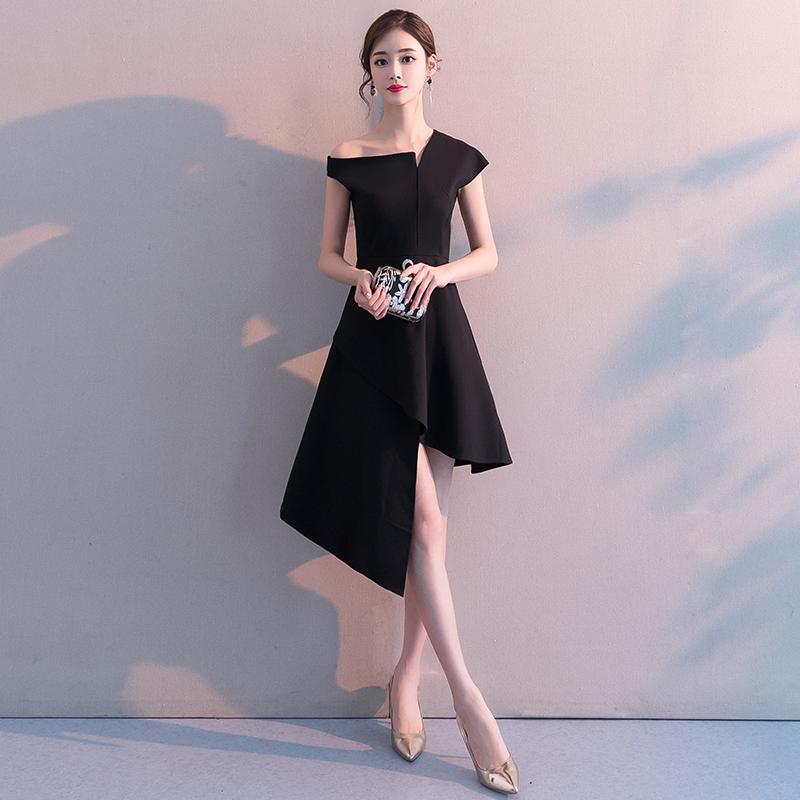 宴会小晚礼服裙女2021新款高贵黑色仙气质学生名媛中长款显瘦洋装
