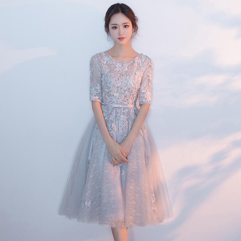 晚礼服女2019新款中长款显瘦学生派对名媛洋装小礼服连衣裙伴娘服(用5元券)