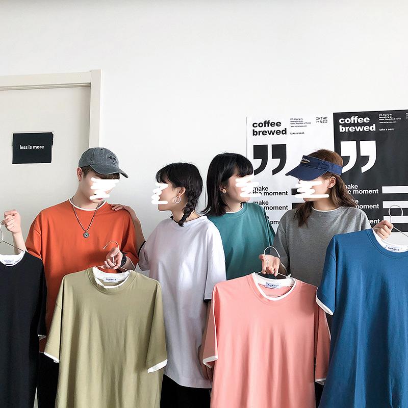 男生短袖t恤韩版潮流T恤夏季宽松休闲纯色假两件五分袖潮DT09P25