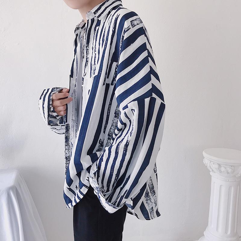 春季chic韩版竖条纹宽松衬衫学生长袖港风白衬衣潮流SD417P58