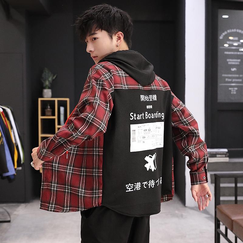 男性の長袖は頭のシャツをかぶせて、カジュアルな春と秋の韓国版のファッションファッションの修身男装の湿っている札のシャツの上着を開けます。