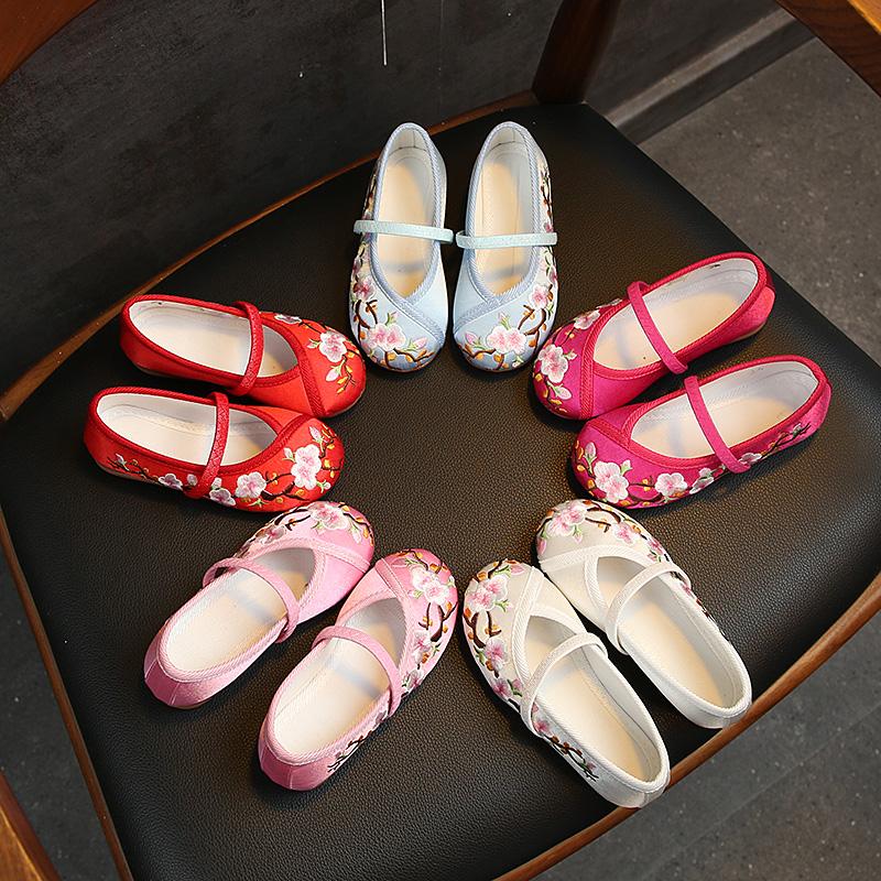 汉服鞋子儿童手工布鞋古装搭配女童民族风绣花鞋学生表演出舞蹈鞋
