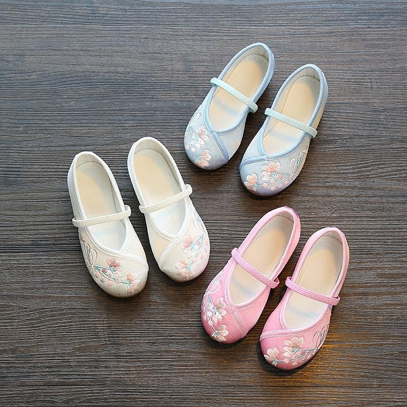 汉服鞋女童绣花鞋老北京儿童手工布鞋民族风古装学生舞蹈刺绣童鞋