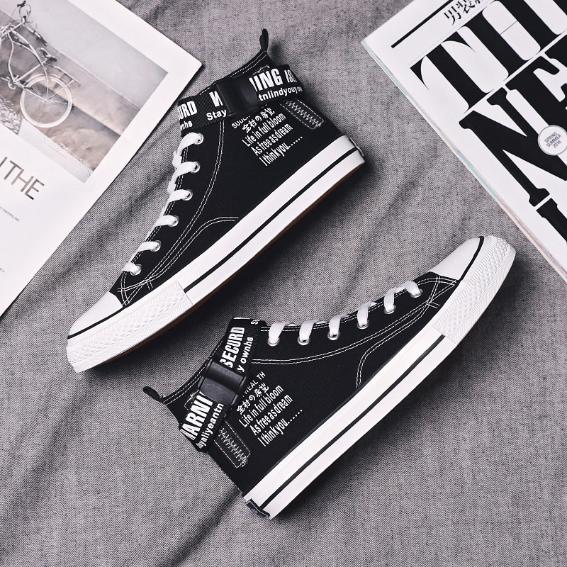 Engrave poetry, autumn and winter 2019, new mens Korean version, buckle, graffiti, high top canvas shoes, mens Hong Kong style shoes, students casual shoes