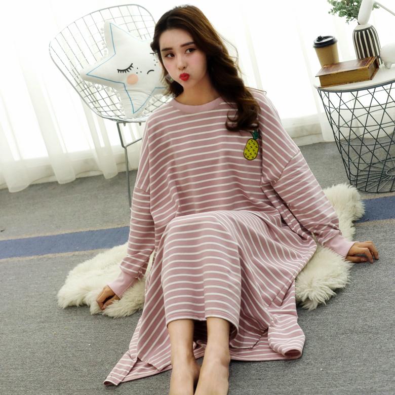 睡裙女秋冬长款学生韩版可爱甜美卡通宽松大码长袖睡衣春秋可外穿