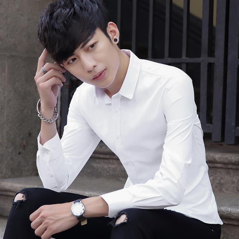 春季白色衬衫男长袖商务寸衫青年韩版修身潮流正装衬衣男休闲上衣