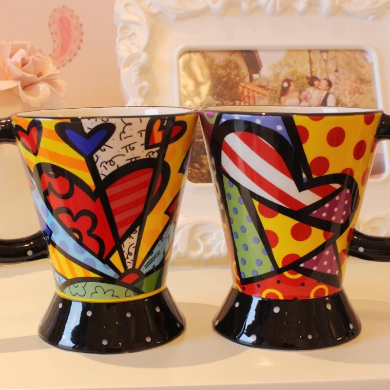 仟度彩繪馬克杯 大容量大口徑大底陶瓷杯水杯 情侶牛奶咖啡杯